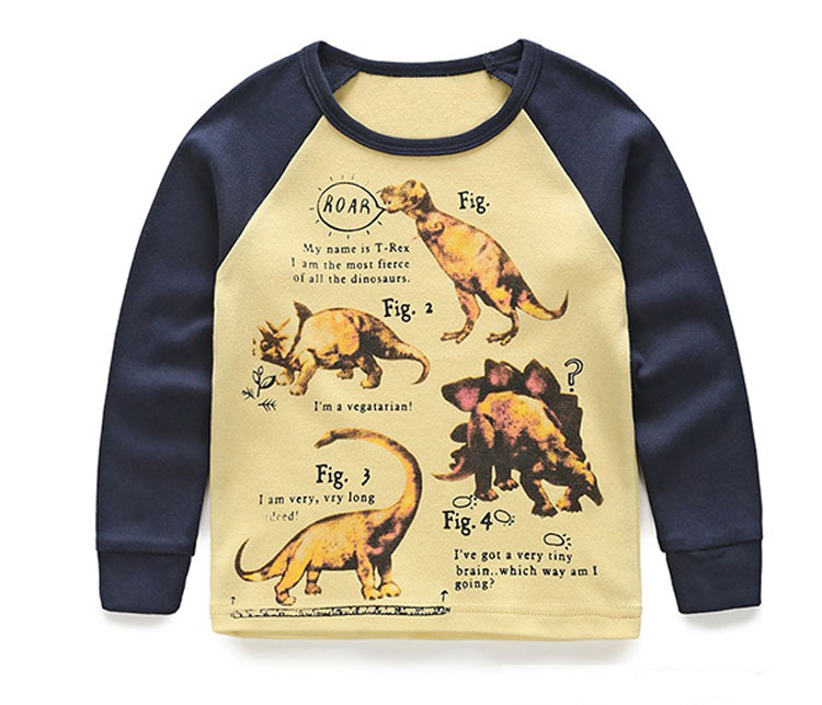 Boys Long Sleeve T Shirt Kids Clothes Spell Color Sweatshirt Autumn Dinosaur Cartoon Baby Clothes