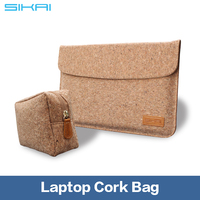 2016 Water Proof Anti Impact Natural Oak Cork Durable Sleeve Bag For Laptop Tablet MacBook Magnetic Buckle Sleeve Case