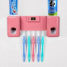 Modern bathroom wall mounted ABS plastic toothpaste dispenser automatic toothbrush dispenser holder