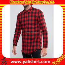 china factory custom mens red soft touch flannel distressed hem longline cut shirt