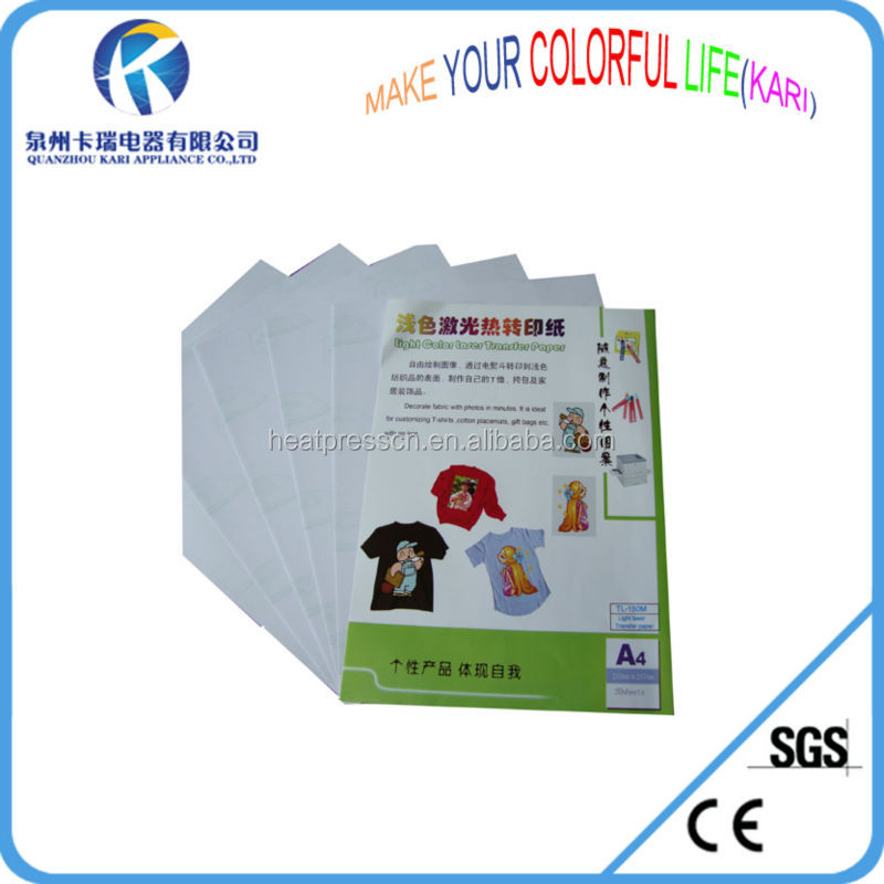 siliver color A4 deep transfer paper for colourful laser printer