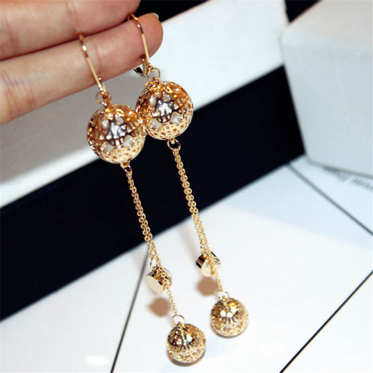 MYLOVE E1471 Real Big Brand Gold Color stud earrings Hollow Ball With Pearl For women New <strong>Fashion</strong>