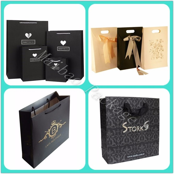 Factory Cheap High Quality Luxury Black Matte Custom Printed Retail Paper Gift Bag For Shopping