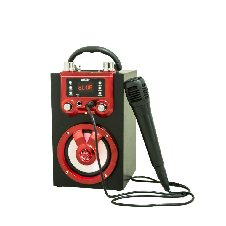 portable BT <strong>speaker</strong> with Karaoke and colorful light and Wired microphone