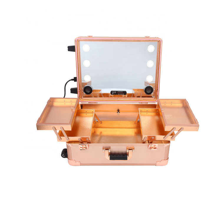 ILUMAY trolley rolling studio makeup case for <strong>travel</strong> with bluetooth speaker