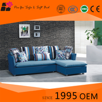 Cheap modern living room fabric blue sectional sofa bed design with headrest for sale