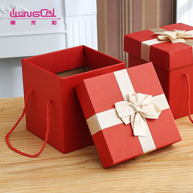 Custom high quality luxury square red cardboard flower paper box