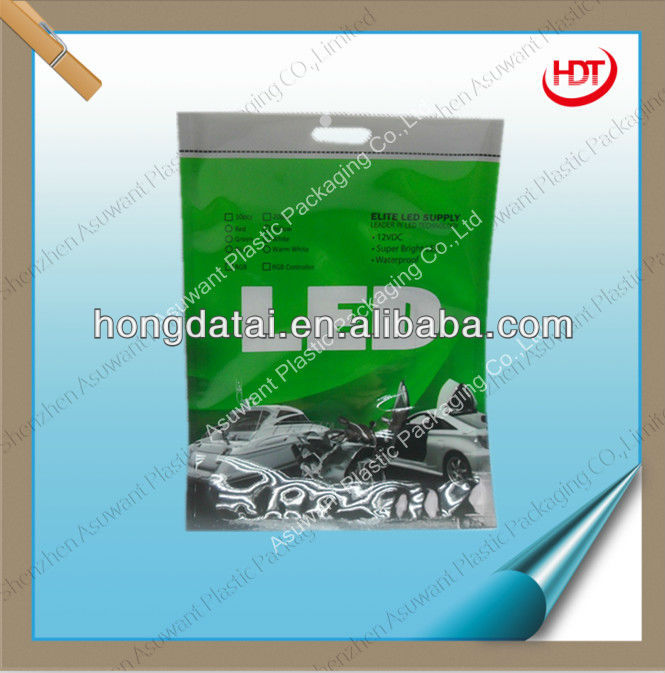 plastic packaging pouch with clear window for LED light
