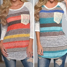 Wholesale Ladies Stripe Irregular Long sleeved T shirt With Pocket