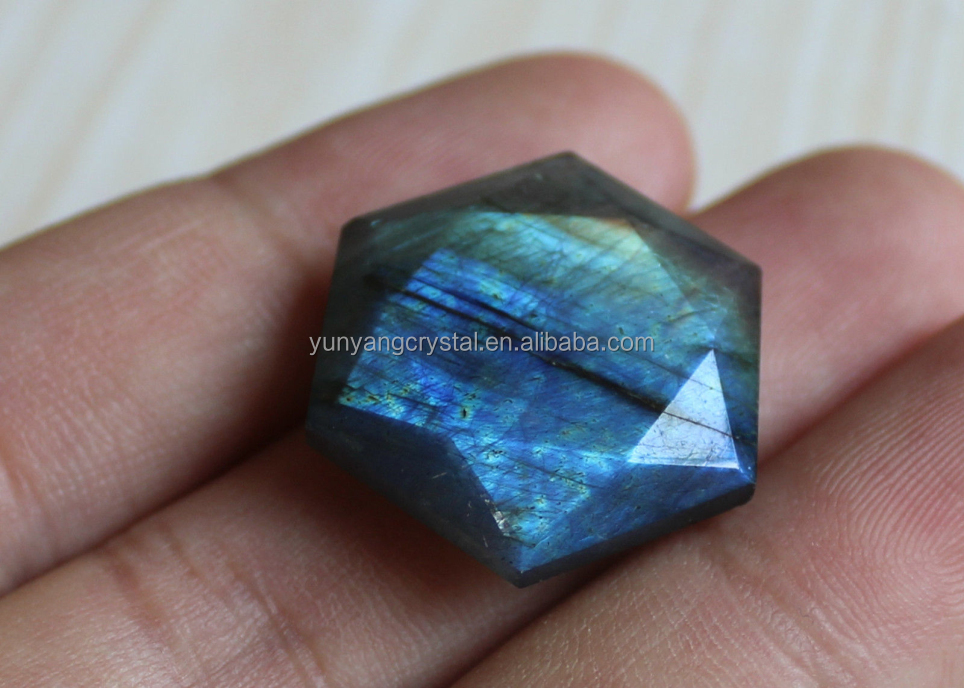 Wholesale Natural Hexagon Labradorite Crystal Carved Star Of David Charms