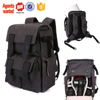 Chinese wholesale tigernu brand eminent high quality dslr camera shaped photo large canvas leather bag backpack
