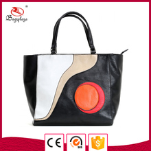 2017 Newest photo black leather tote bag fashion detaching style purses handbags