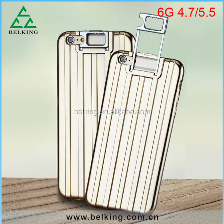 Luggage design For iPhone 6 Trolley stent Case Kickstand Holder suitcase Case For iPhone 6 6S Plus