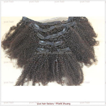 Afro kinky hair extensions brazilian factory cheap remy clip virgin brazilian hair