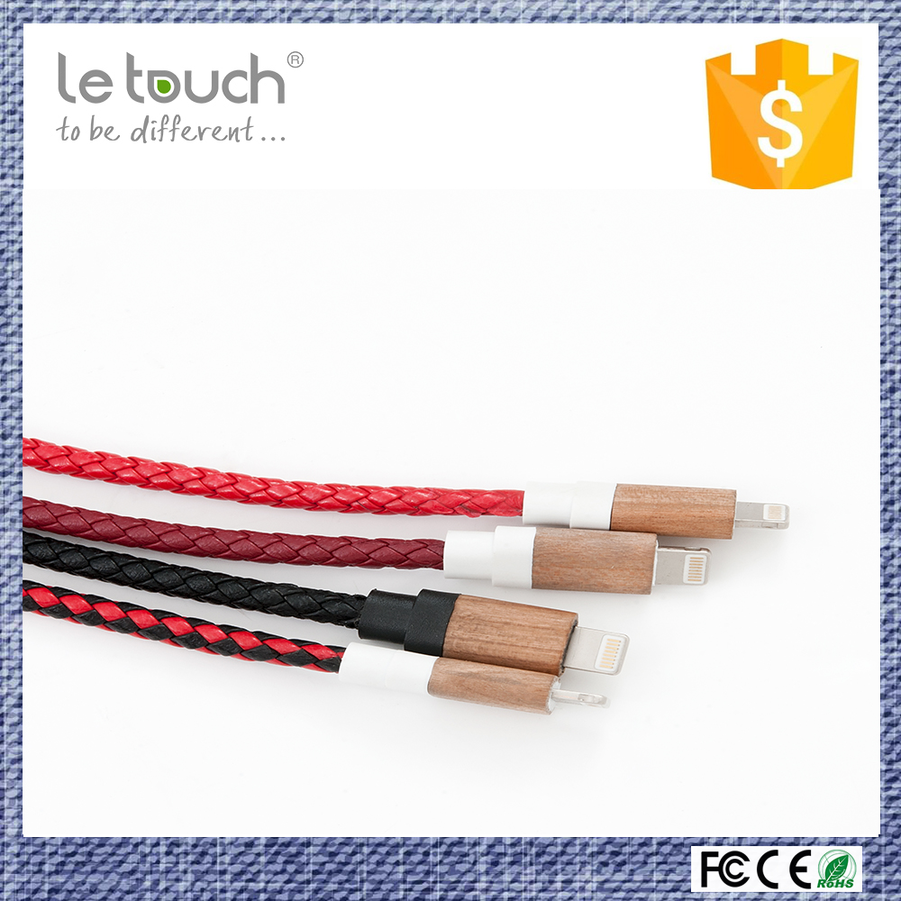 OEM available mobile phone use usb charger cable type leather bracelet with 8 pin wood connector