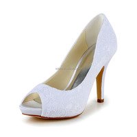 High quality Peep toe Elegent heel bridal shoes white lace wedding shoes manufacturer