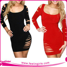 Wholesale Long Sleeve Ripped Sexy Young Ladies Club Dress