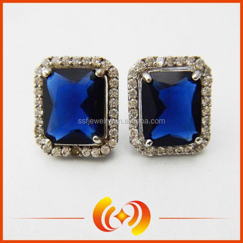 sapphire gold stud earrings  eBay