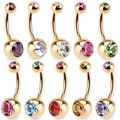 Wholesale double jeweled belly piercing navel button jewelry