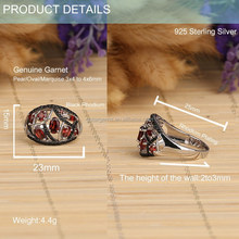 cheap price oval shape hand setting natural garnet black small stone 925 sterling silver ring