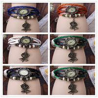 Fashion Women Leather Wrist Watch Charm Bracelet Retro Vintage Rose Pendant Weave Wrap Quartz 7 Colors