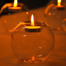 Glass Round Bubble Tea Light Candle Holder Stand Candlestick Bar Party Home Wedding Decoration