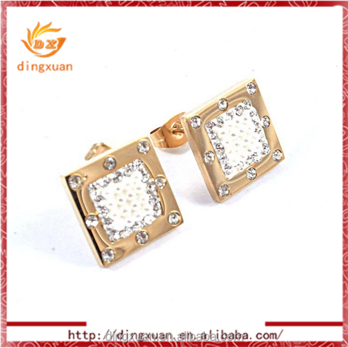 Popular fashion gold plated square shape tanishq diamond earrings