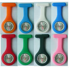 Free Shipping!! 10 colors Silicone Nurse Watch with Safety Pin Brooch Pendant Hanging Pocket Watch Relogio Luminous Glow in dark
