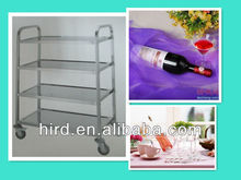 4-layer Square Tube Mobile Ingredient Kitchen Dining Trolley Serving Utiliy Cart