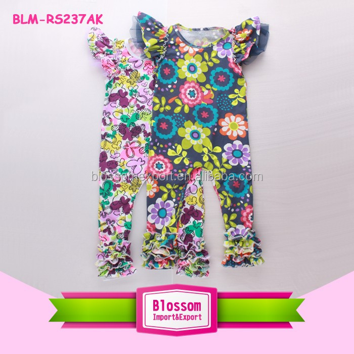 Summer Cotton Baby Girls Flutter Sleeve Icing Romper Triple Ruffle Onesie Floral Printed Icing Rompers With Flutter Sleeve
