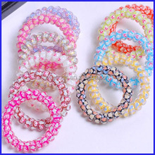 Cute Twisted colourful Telephone Line Shaped Wire Hair Ties elastic hair bands