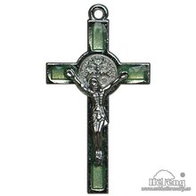 Light Green Luminous St. Benedict Metal Alloy Crucifix