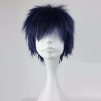 Hot Anime! Basketball Kuroko Aomine Daiki Cosplay Wig Synthetic Blue Short Pixie Cut Peruca Cosplay Perruque Synthetic wigs