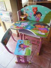 2015 new popular cartoon school desk and chair set wholesale
