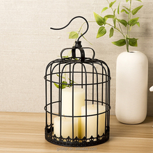 Wholesale Modern Metal Craft Handmade Wedding Table Centerpieces Candle Cover Decorative Black Bird Cage With Haning Hook