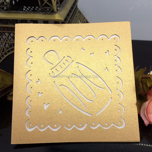 Laser hollow out letter writing greeting card handmade greeting card for baby shower