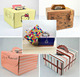 Food package die cut handle Printed cake box with PVC window