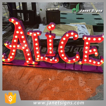 Alibaba Jiangsu factory vintage light up stainless steel marquee channel letter