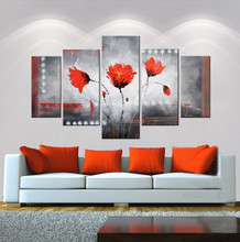 handmade 5 pieces flower oil painting craft for decor