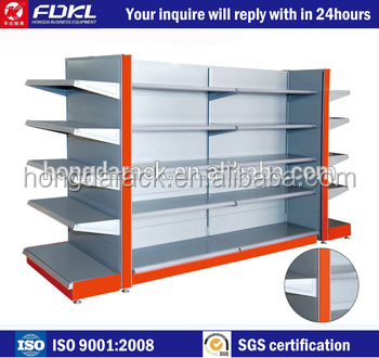 Adjustable medium End shelf gondola invisible shelf support
