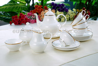 20pcs hotel dinnerware, porcelain dinner set with golden line