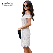 Off Shoulder Short Sleeves Bodycon Sexy Mature Women Elegant Lace Mini Dress