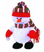 singing snowman with scarf,nodding head and moving hands