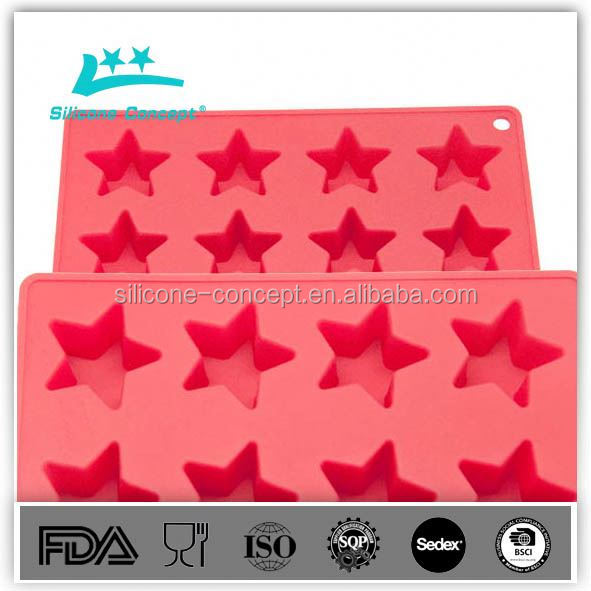 Food Grade Cat Star Fish Bone Shaped Silicone chocolate mould/ Ice Cube Tray