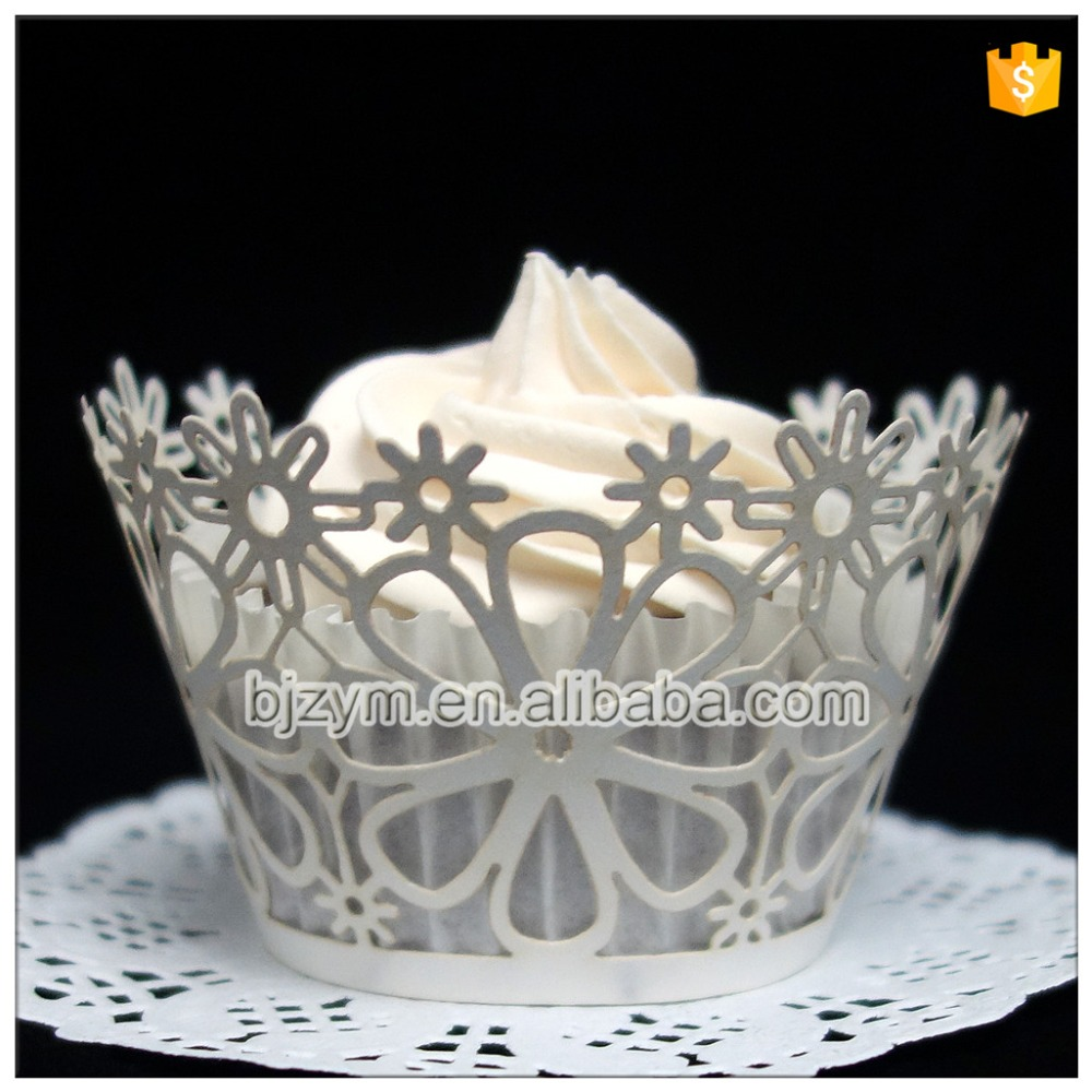 Wholesale DIY handmade white pearl paper flower laser cut cupcake wrappers cup cake decorating tools for wedding free shipping