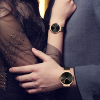 2019 Simple Style Gold Couple Watch Color Black Custom Logo