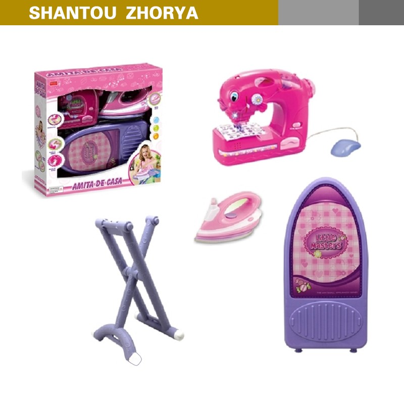 Girls home appliance series battery operated plastic iron sewing machine toy with stands