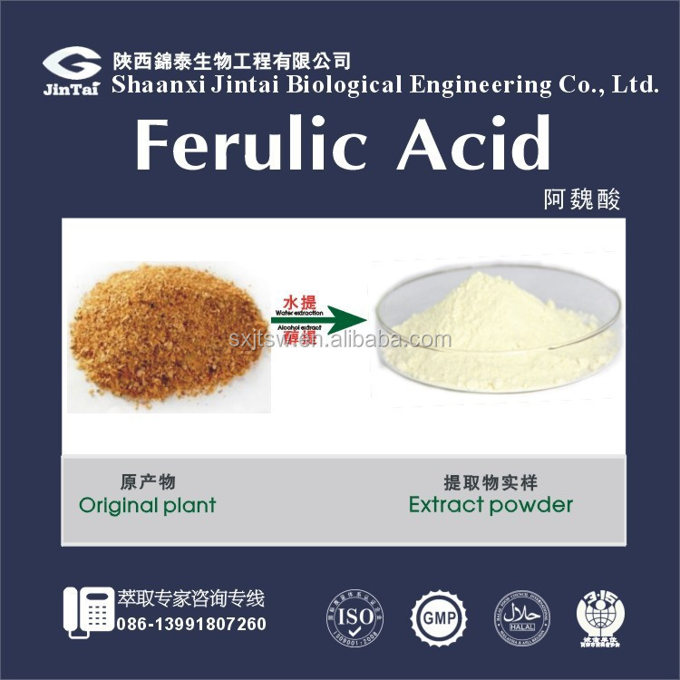 Factory Supply natural Ferulic Acid 99% Rice Bran Extract