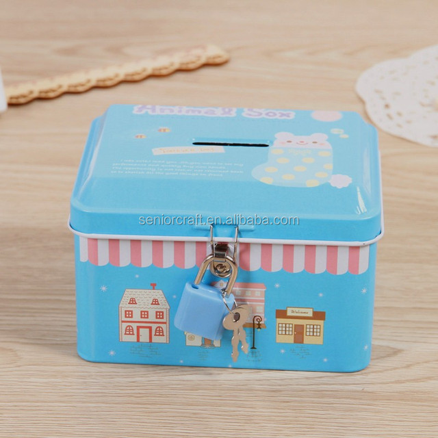 2017 china factory hot sale small cute metal tin saving money coin boxes of square jewel box shape for promotion gift DME029