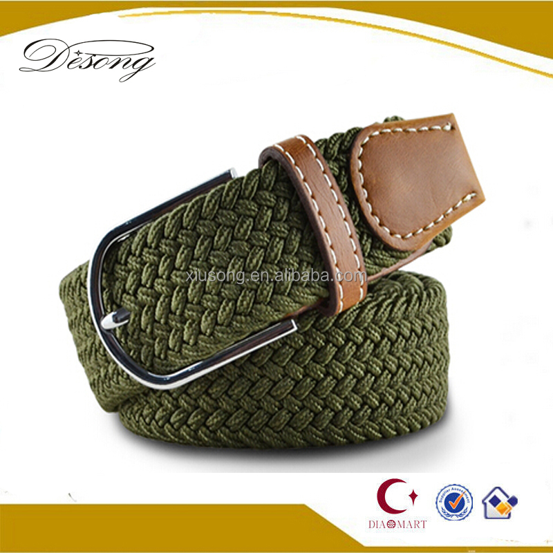 BET3 Mens Casual Waistband Belts Woven Stretch Braided Elastic Leather Buckle Belt